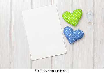 Photo frame or greeting card and handmaded valentines day toy he