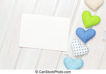 Photo frame or greeting card and handmaded valentines day toy hearts