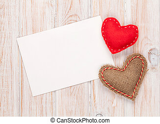 Photo frame or greeting card and handmaded toy hearts