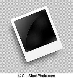 Photo frame polaroid template on transparent grid. Isolated instant photo frame.