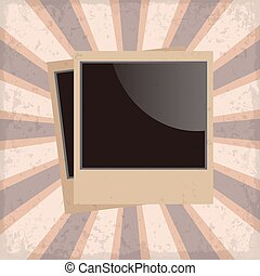 Photo frame retro on a sun rays background with grunge