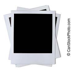 Photo frame - Stack of blank paper photo frames isolated on...