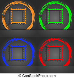 Photo frame template icon sign. Fashionable modern style. In the orange, green, blue, red design.