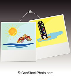 photo frame with beach icon on the wall vector illustration