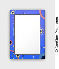 Photo Frame with Blue Border and Abstract Circles