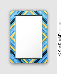 Photo Frame with Blue Border and Abstract Figures