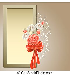 Photo frame with bouquet