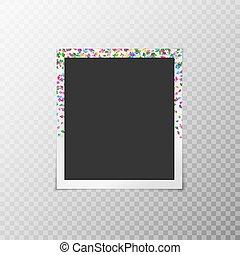 Photo frame with festive confetti