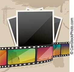 photo frame with filmstrip on stains carton background