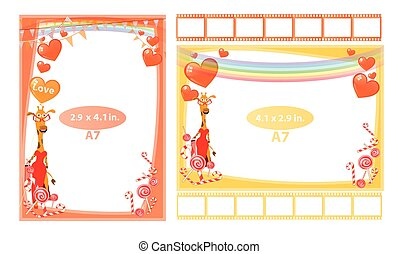 Photo frame with giraffe girl and hearts a7