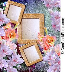Photo frame with gladiolus