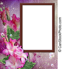 Photo frame with gladiolus - Old grunge background with...
