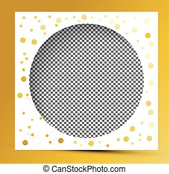Photo Frame with Golden Splashes and Transparent Background.