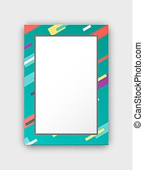 Photo Frame with Green Border and Abstract Figures