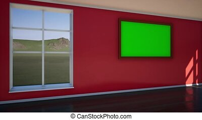 Photo Frame with Green Screen in the Dark.