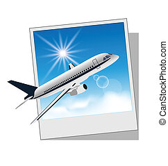 Photo frame with plane isolated on white background