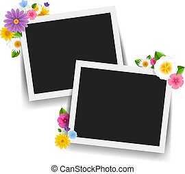 Photo Frame With Retro Background With Flowers Border