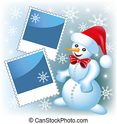 Photo frame with snowman