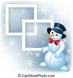 Photo frame with snowman - Page layout photo frame with...
