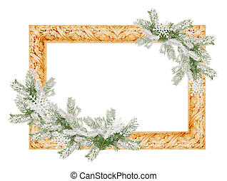 photo frame with snowy spruce tree branches isolated on a white background