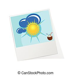 photo frame with sun icon vector illustration