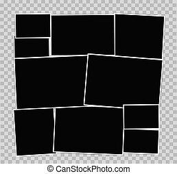 Photo frames album composition on transparent background. Vector design template