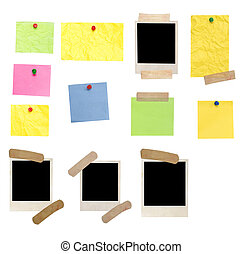 photo frames and colored empty notes - photo frame and empty...