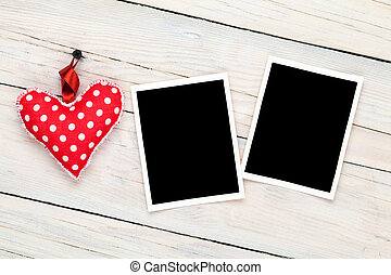 Photo frames and handmaded valentines day toy heart