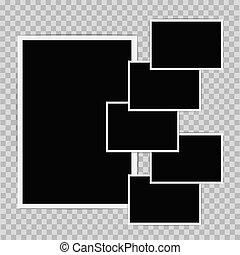 photo frames composition on transparent background. vector design template