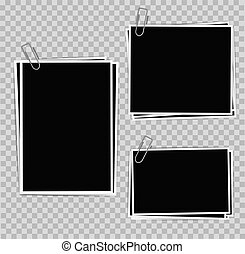 Photo frames composition with clips on transparent background. Vector design template