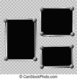 Photo frames composition with pins on transparent background. Vector design template