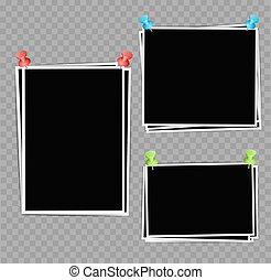 Photo frames composition with pushpins on transparent background. Vector design template