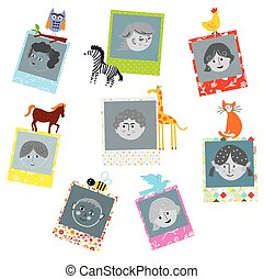 Photo frames designs for kids with funny animals