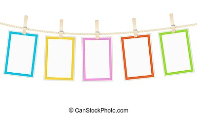 photo frames hanging on a rope with clothespins. vector