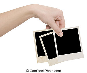 photo frames in a hand