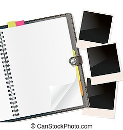 photo frames on open diary on white. vector