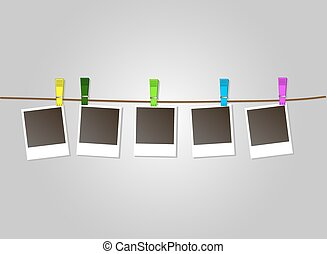 Photo Frames on Rope with colored clothespins.
