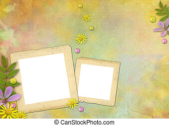 photo frames on the abstract pastel-colored paper background...