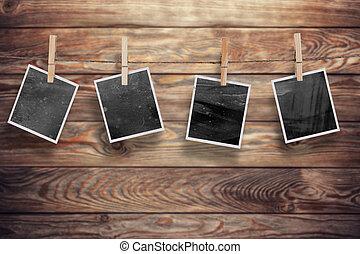 photo frames on wood