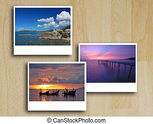 photo frames on wood floor