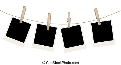 Photo frames on the rope. Vector illustration.