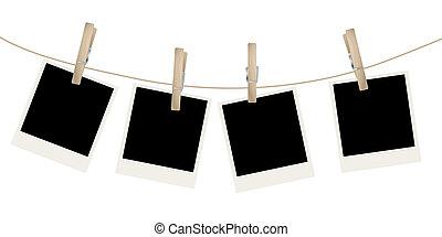 photo frames - Photo frames on the rope. Vector illustration...