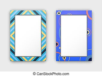 Photo Frames with Blue Border and Abstract Figures