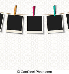 Photo Frames with clothespins. Vector illustration