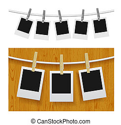 Photo frames with pins on rope