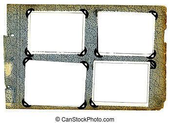 photo framework - photo frames on old aged album isolated