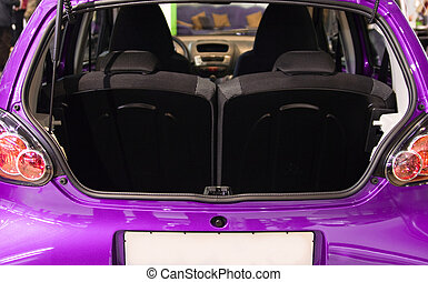 photo from back luggage space of modern small car