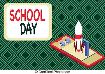 photo, fusée, écriture, projection, école, day., obtenir, ...