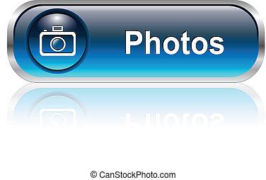 Photo gallery icon, button - Photo gallery button, icon blue...
