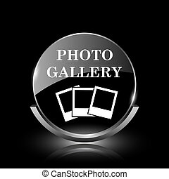 Photo gallery icon - Shiny glossy glass icon on black...